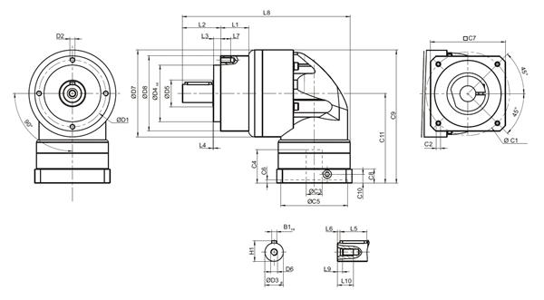 Afmetingen AER serie 1 traps ratio 3~20